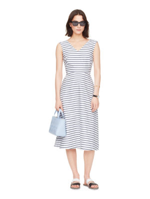 stripe cotton a-line dress