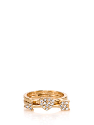 love list heart and arrow stackable rings
